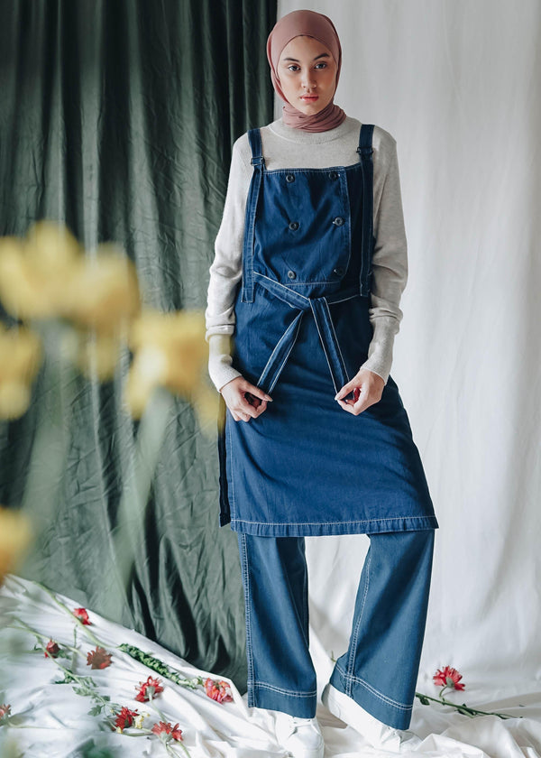 Savina Pinafore Dress Navy