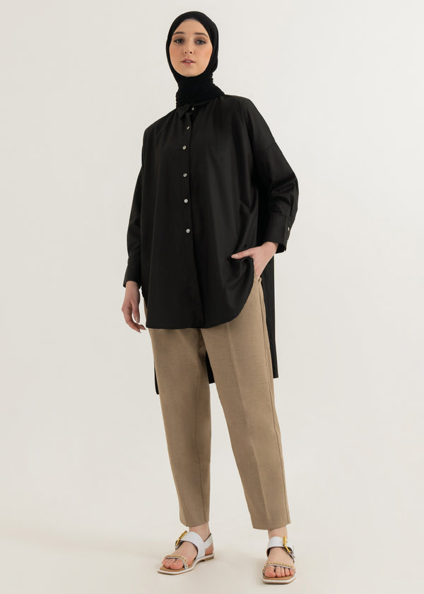 Agnia Pleats Shirt Black