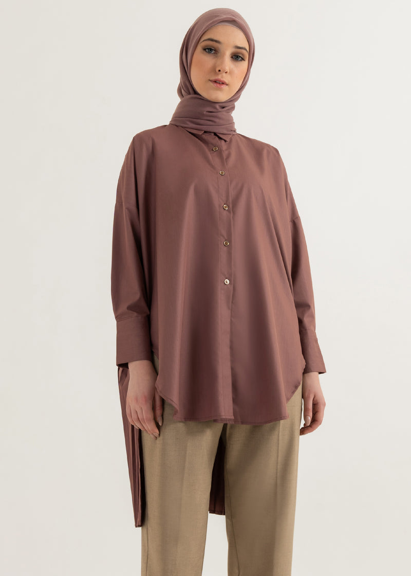 Agnia Pleats Shirt Dusty Pink