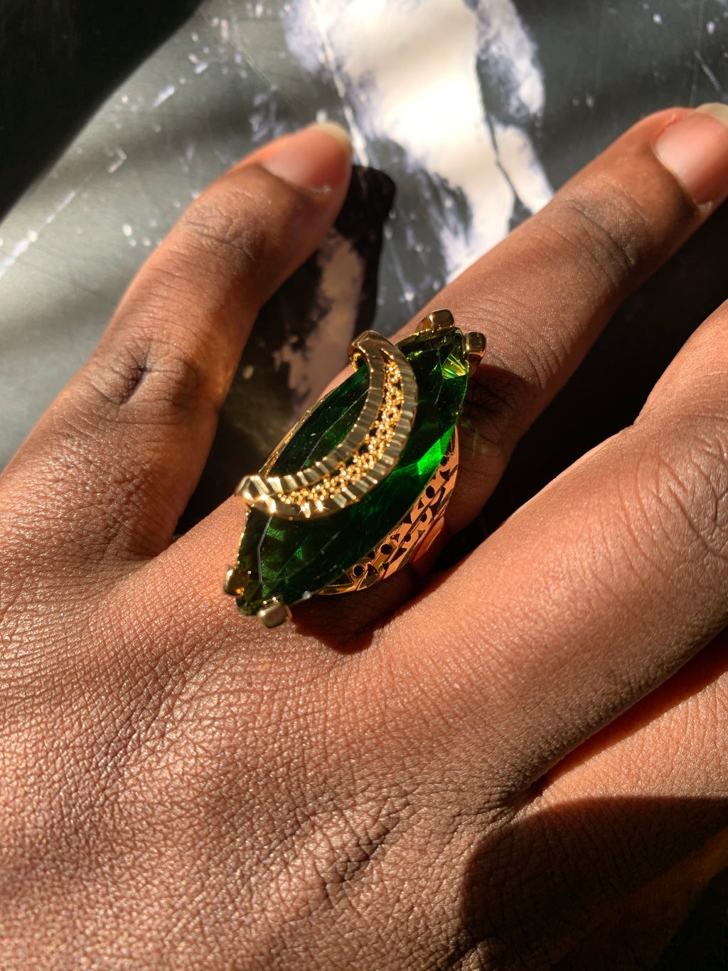 Half Moon Green emerald ring