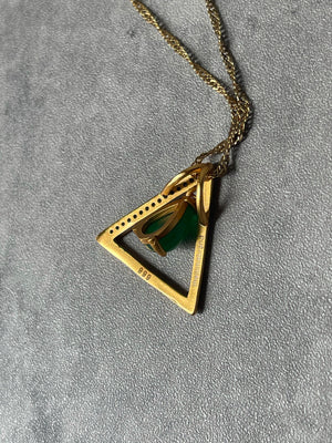 Jade pearl Triangle necklace