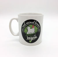 "TVK Mug ""Real Animal Lovers Are Vegan"" - Chicken (White)"