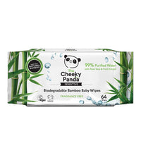 Baby Care - The Cheeky Panda - Biodegradable Bamboo Baby Wipes (64 Wipes)