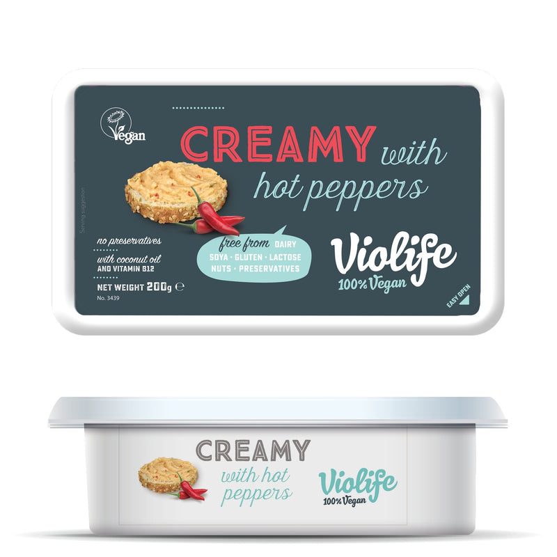 Cheeses - Violife Creamy Vegan Cheese - Hot Pepper (200g)