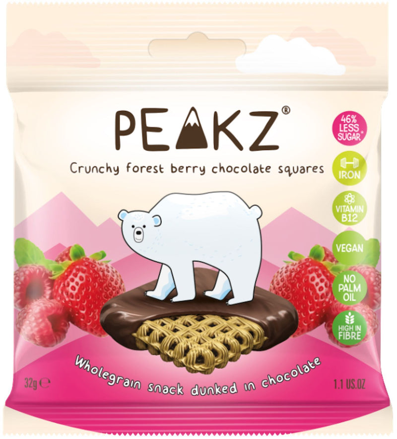 Chocolate Covered Snacks - Peakz - Crunchy Chocolate Squares - Forest Berry (32g)