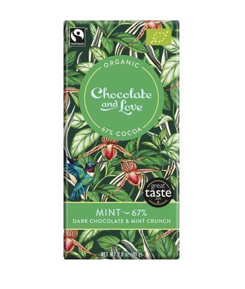 Chocolates/Bars - Chocolate And Love - Mint 67% - Dark Chocolate With Peppermint Crunch (80g)