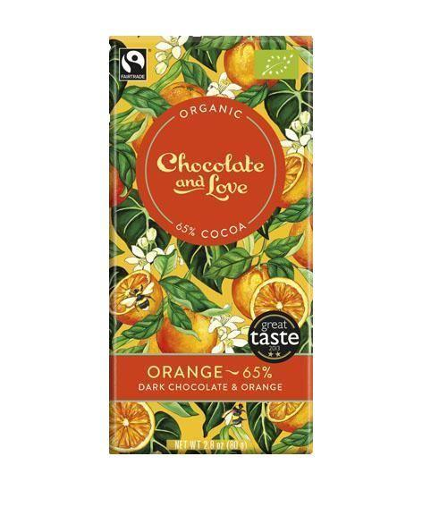 Chocolates/Bars - Chocolate And Love - Orange 65% - Dark Chocolate With Orange Extract (80g)