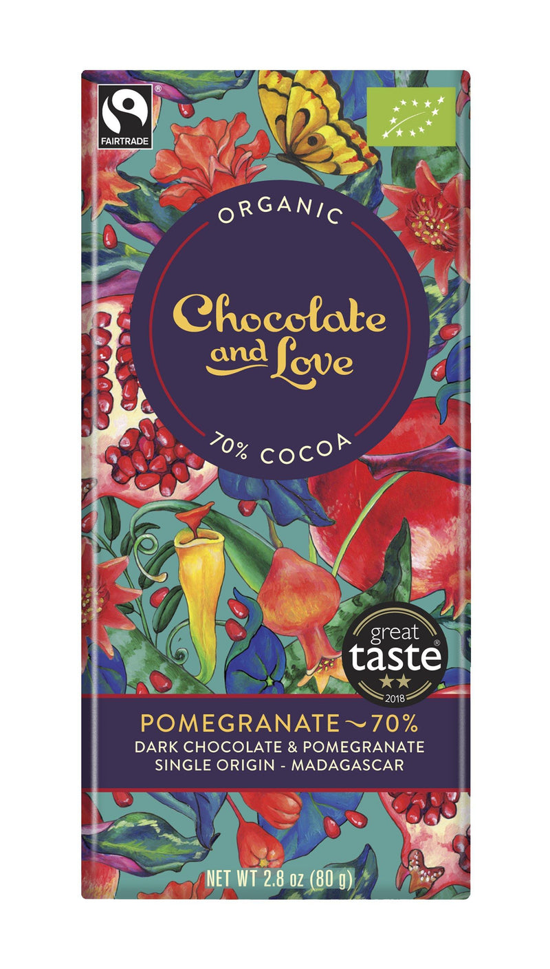 Chocolates/Bars - Chocolate And Love - Pomegranate 70% Chocolate (80g)