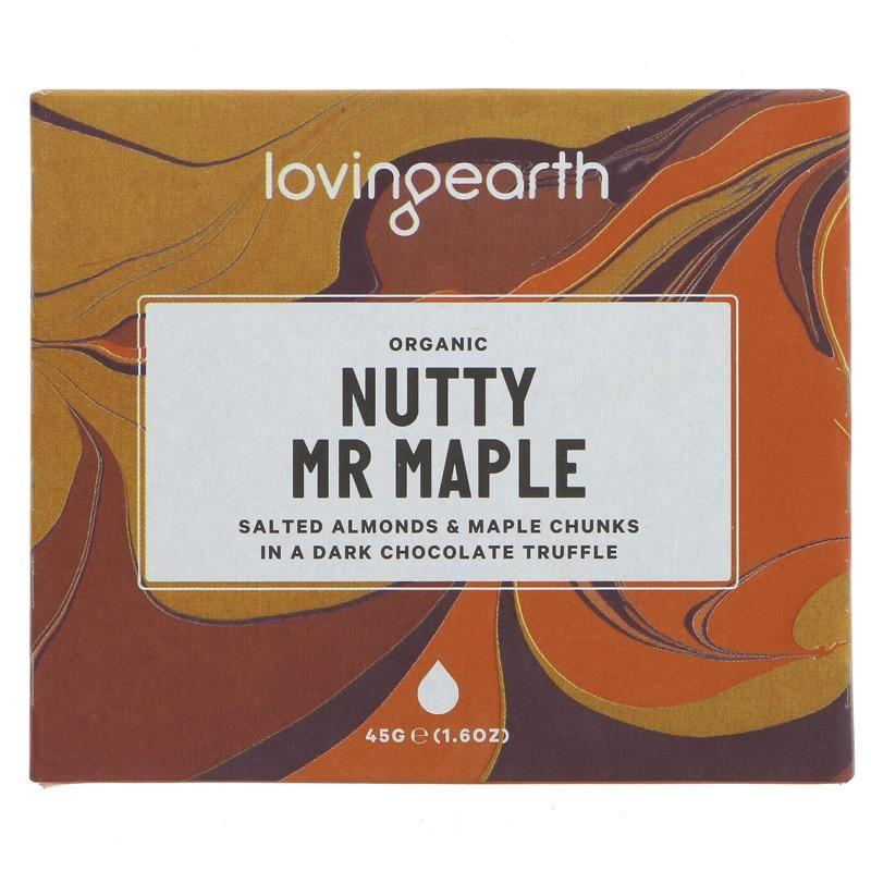 Chocolates/Bars - Loving Earth - Nutty Mr Maple - Salted Almonds & Maple Chunks Chocolate Bar (45g)