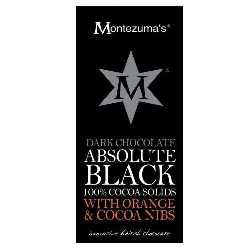 Chocolates/Bars - Montezuma - Absolute Black Dark Chocolate With Orange & Cocoa Nibs (100g)