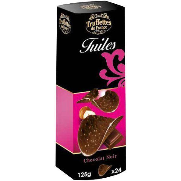 Chocolates/Bars - Truffettes De France - Crispy Dark Chocolate Tuiles Thins (125g)