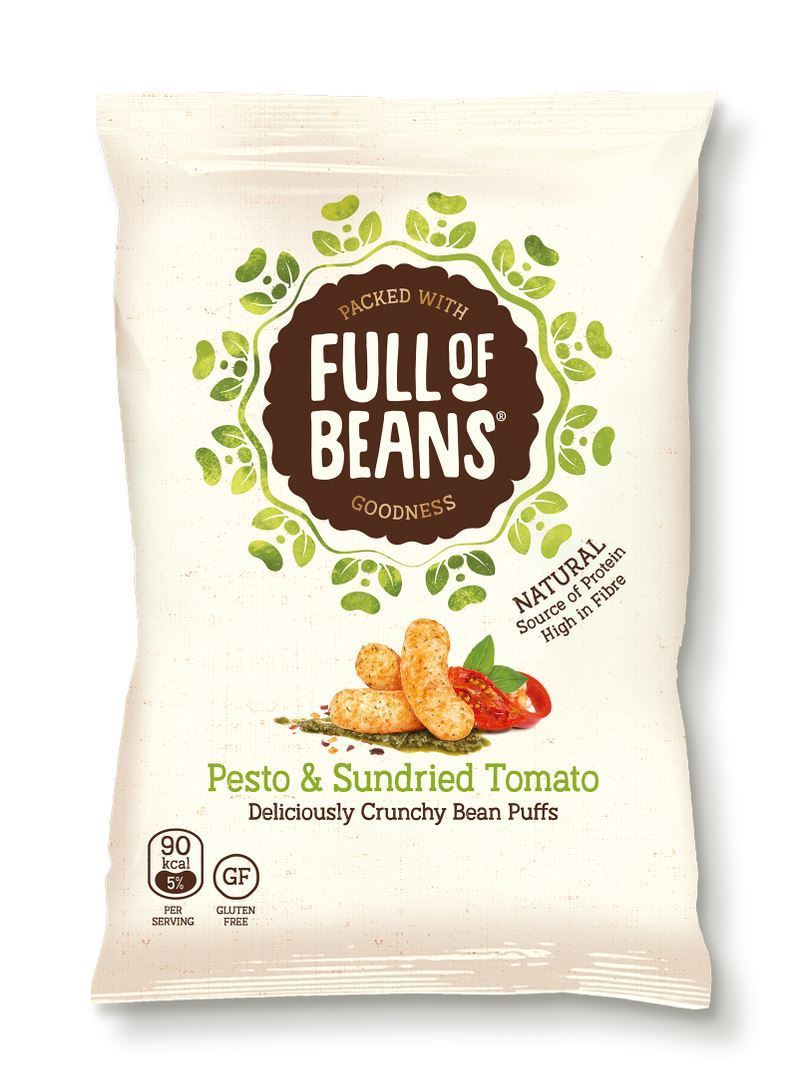 Crisps, Chips & Popcorn - Full Of Beans - Pesto & Sundried Tomato Bean Puffs (85g)