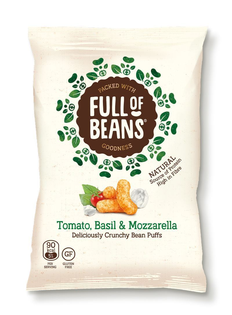 Crisps, Chips & Popcorn - Full Of Beans - Tomato, Basil & Mozzarella Bean Puffs (85g)