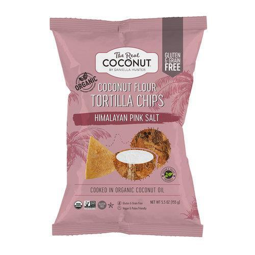 Crisps, Chips & Popcorn - The Real Coconut - Himalayan Pink Salt Coconut Flour Tortilla Chips (155g)