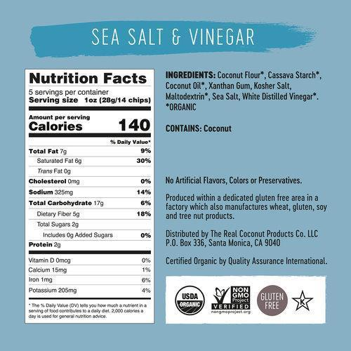 Crisps, Chips & Popcorn - The Real Coconut - Sea Salt & Vinegar Coconut Flour Tortilla Chips (155g)