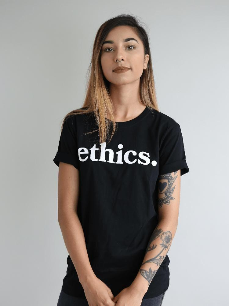 Ethical Clothing - ETHCS Ethics. Black Tee