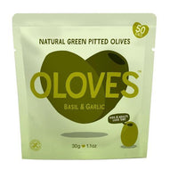 Savoury Snacking - Oloves - Marinated Pitted Green Olives - Basil & Garlic (30g)