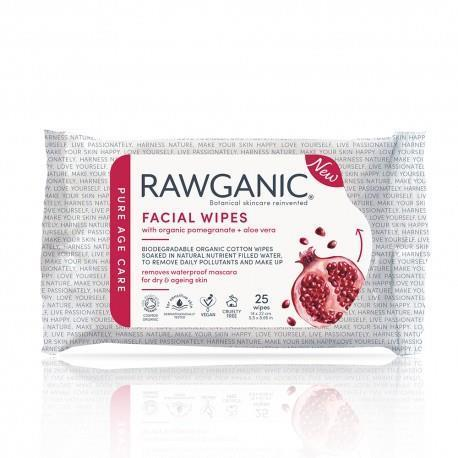 Skin Care - Face - RAWGANIC - Organic Anti-aging Facial Wipes - Pomegranate (25 Wipes)