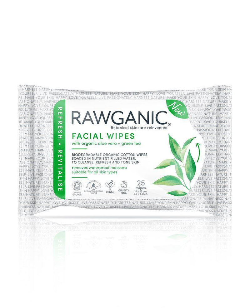 Skin Care - Face - RAWGANIC - Organic Pure Refreshing Facial Wipes - Green Tea & Aloe (25 Wipes)