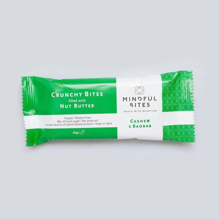 Snack Bars - Mindful Bites - Crunchy Bites Filled With Nut Butter - Cashew Nut & Baobab (25g)