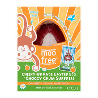 Moo Free - Vegan Easter Egg - Orange with Choccy Chum Surprise (120g)