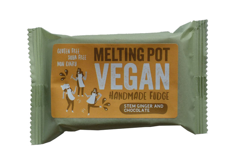 Sweets - Melting Pot - Handmade Stem Ginger And Chocolate Vegan Fudge (90g)