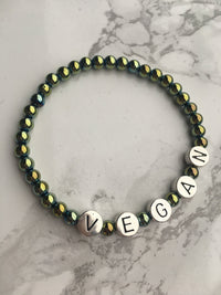 Vegan Accessories - 'Vegan' Slogan Bracelet (Mermaid Shade)