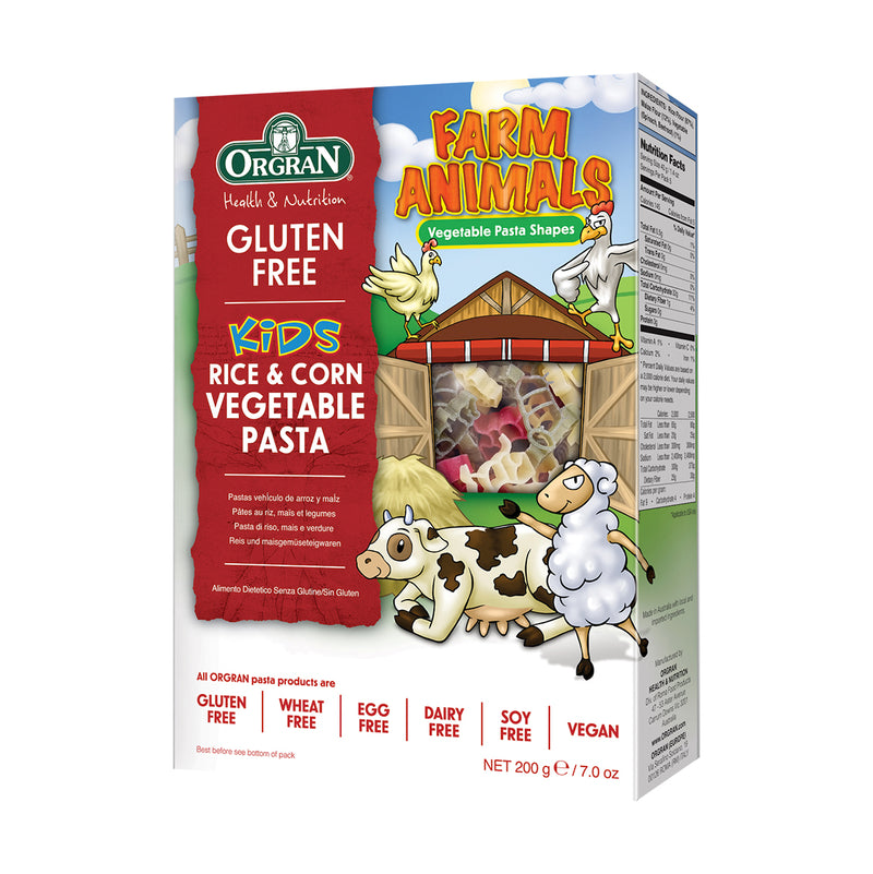 Orgran - Gluten Free Rice & Corn Vegetable Pasta (Farm Animals Shapes) (200g)