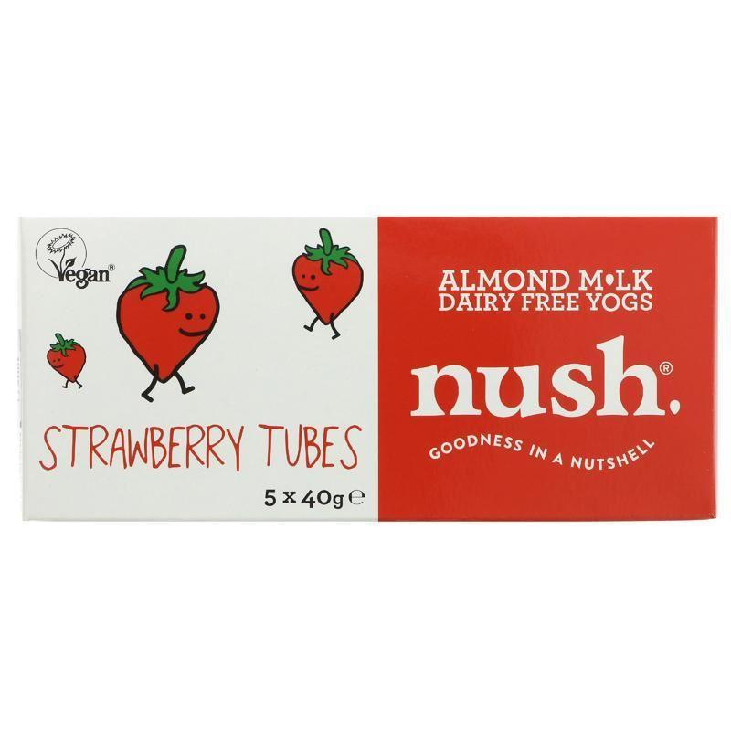 Yogurts & Desserts - Nush - Almond Milk Dairy Free Yogs - Strawberry Tubes (5x40g)