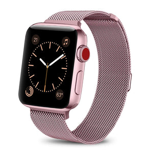 Rose Pink Stainless Steel Apple Watch Band