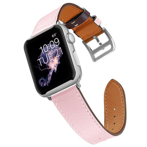 Pink Leather Apple Watch Band