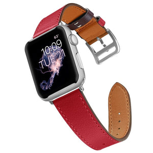 Red Leather Apple Watch Band