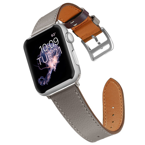 Grey Leather Apple Watch Band
