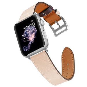 Beige Leather Apple Watch Band