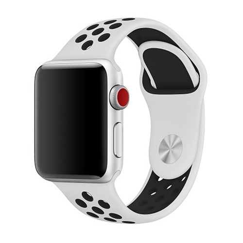 White & Black Apple Watch Sport Band