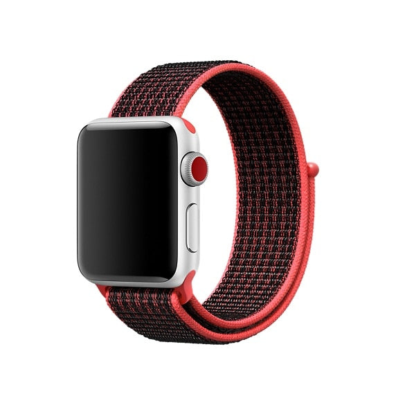 Black & Red Nylon Apple Watch Sport Band