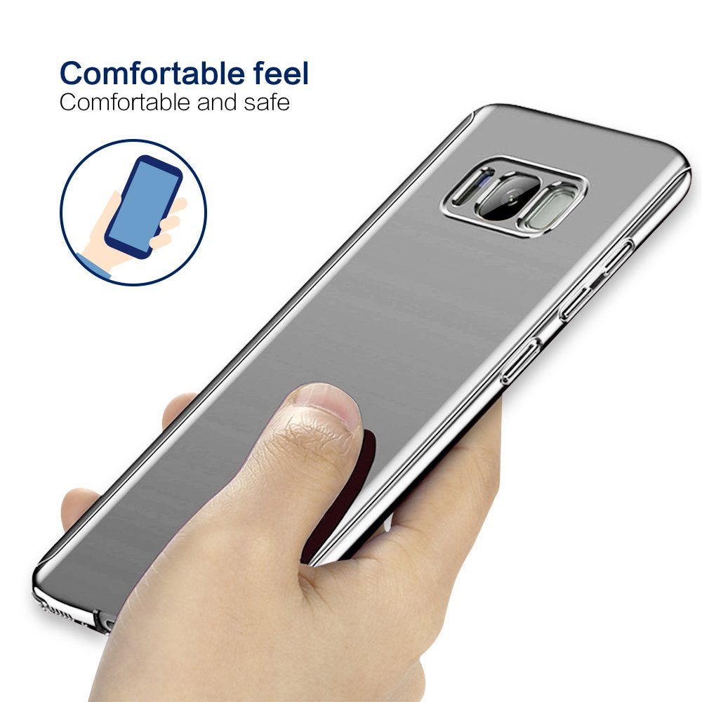 360 Degree Full Body Case Soft HD Screen Protection Protector Film Ultralight Slim Hard Mirror Chrome Electroplate Cover for Samsung Galaxy S8 & S8 Plus