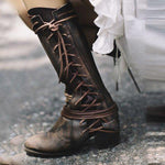 Women Side Lace-up Low Heel Boots Vintage Comfort Corium Leather Booties