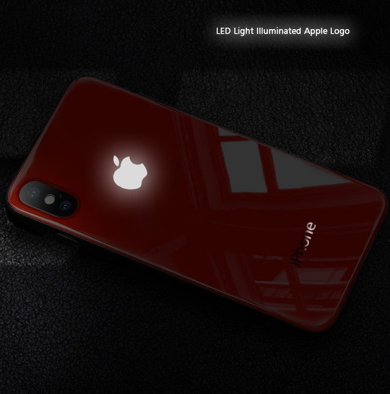 LED Light Illuminated Apple Logo 3D Designer Glass Case Back Cover For iPhone X/XS/XR/XS MAX