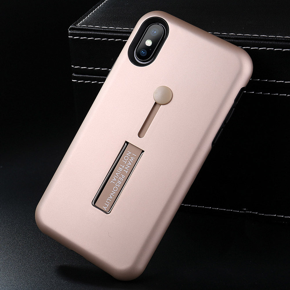 Armor Protective Case Cover with Kickstand Matte Portable Shell with Hide Ring Holder For iPhone7/8/7Plus/8Plus/X/XS