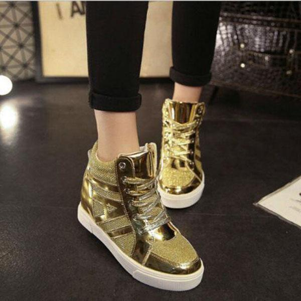 Women Fashion Hidden Ankle Boots Sneakers Wedge Heels High Top Lace up Shoes