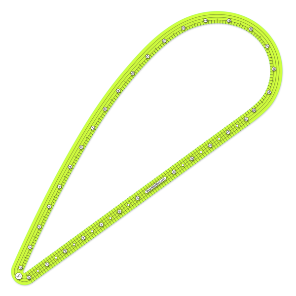 half inch seam allowance large transparent green french curve ruler