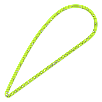 three eigths inch seam allowance large ruler made from neon green transparent acrylic