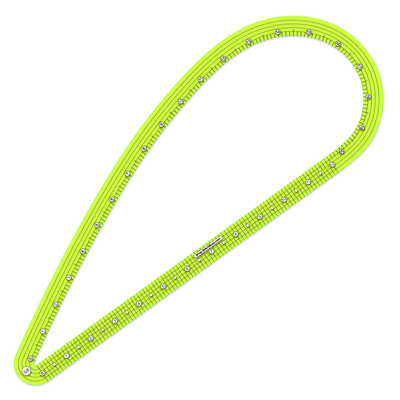 five-eighths inch  seam allowance french curve ruler transparent yellow green plastic