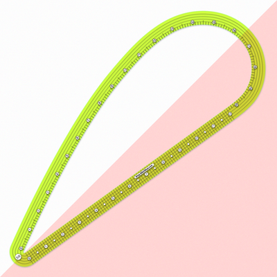 see-through green french curve ruler five eighths inch seam allowance