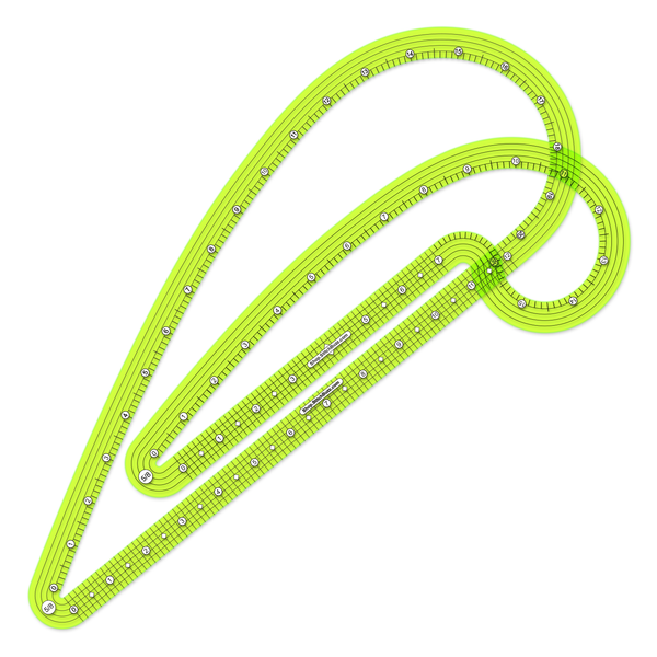 five-eighths inch seam allowance french curve ruler set transparent yellow green plastic