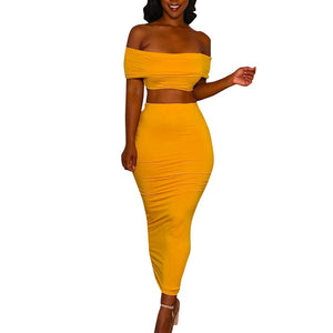703ade8a12 2 Piece Set Women Sexy Crop Top And Long Skirts Two Piece Bodycon Skirts Set  Women