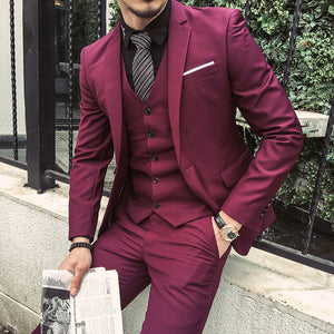 17791473ccb 2018 Fashion Large Size Korean Business Suit Men Three Pieces of Suit and  Groom Wedding Dress