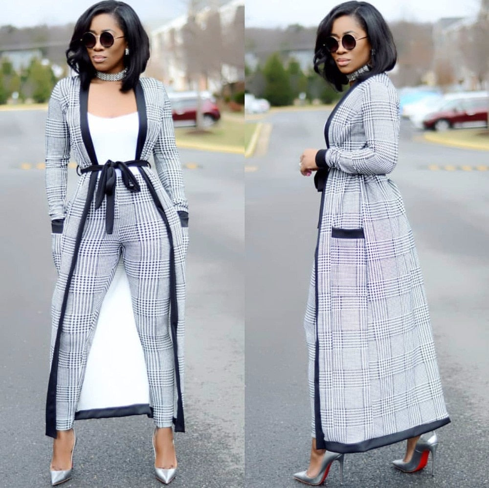 a4b2abfd7c2 2018 Plaid Print coat+tshirt+Pant Summer tracksuit Full Sleeve fashion sexy  women s set