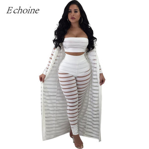 2018 Sexy Hollow Out 3 Pieces Set Womens Strapless Crop Top Sheer Stripe Mesh  Pants Long b3461c79d515